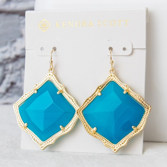 d702bcd2c7499 Kendra Scott Kirsten Gold Teal Agate Earrings NWT